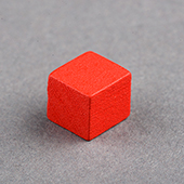 8mm Wooden Cube Red