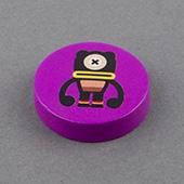 25x25x6mm Custom Wooden Disc Purple